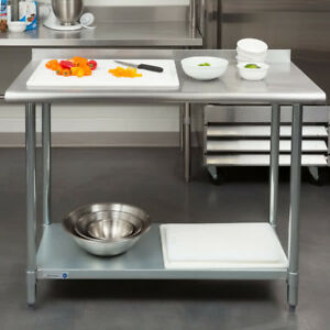 New Commercial 24 X 48 Stainless Steel Work Prep Table With Backsplash Kitchen