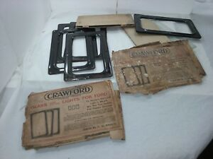 Model T Ford Glass Rear Curtain Windows Nos Crawford Accessory 5 Total 317f