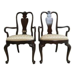 Pair Of Ethan Allen Georgian Court Shell Carved Dining Room Arm Chairs