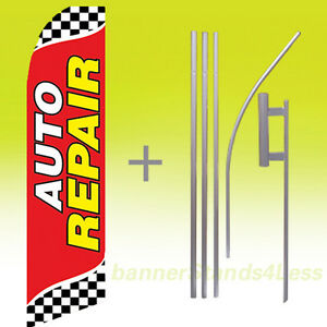 Auto Repair Swooper Flag 15 Kit Feather Flutter Banner Sign Checkered Rb
