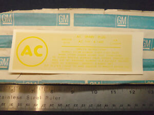 Nos 1962 Corvette 327 360hp Air Cleaner Fuel Injection Decal A 145c Fi F i Ac