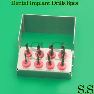 Dental Implant Drill Kit 8 Pcs Set External Irrigation Surgical Bur Holder