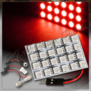 47mm X 30mm 24 Smd Led Panel Interior Dome Map Light W T10 Festoon Ba9s Red