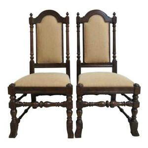Pair Ethan Allen Charter Oak Jacobean Dining Room Side Chairs B