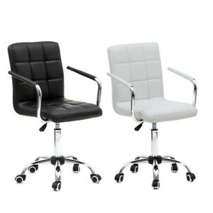 Office Executive Mid back Adjustable Height Desk Seat Swivel Chair Black White