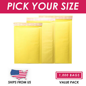 1000pcs Kraft Bubble Padded Self Sealing Shipping Mailer Envelopes Various Sizes