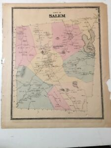 Antique Map Of Salem Connecticut With Property Owners C 1880 S