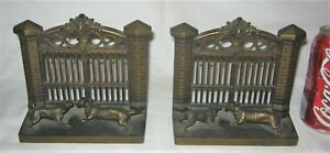 Antique Bradley Hubbard Us Cast Iron Pit Bull Dog Art Gate Fence Statue Bookends