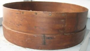 Antique Wood Screen Flour Sifter Overlap Nailed Seam Wide Bottom Rim