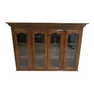Ethan Allen Charter Oak Jacobean China Cabinet Breakfront Hutch Top 240