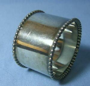 Vintage Silver Plate Napkin Ring With Beaded Rims