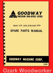 Goodway Gw 1622 1630 1640 1660 Metal Lathe Parts Manual 1220