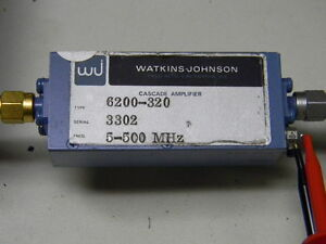 Watkins johnson 6200 320 Sma Rf Cascade Amplifier 55db 5 500mhz 24vdc Tested