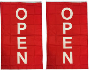 3x5 Ft Vertical Open Flag Store Concession Business Banner Flag Rb 2 Pack