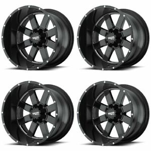 Set 4 17 Moto Metal Mo962 Black Milled Wheels 17x10 8x6 5 24mm Lifted Chevy