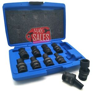 10pc 1 2 Dr Metric Shallow Universal Impact Socket Set