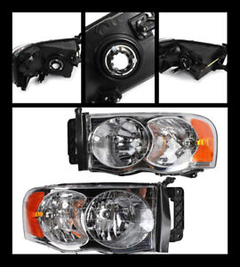 2pcs Headlights Headlamps For Dodge Ram 2500 3500 2003 05 1500 2002 05 Truck
