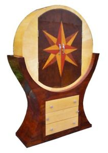 Gorgeous Marquetry Art Deco Style Bar Cabinet Bookcase