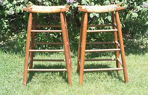 Pair Of 2 Arts And Crafts Misson Style Stool Caned Saddle Seat