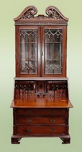 Quality English Victorian Style Majestic Solid Mahogany Bureau Bookcase
