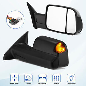 Fits 2009 2012 Ram 1500 2500 3500 Power Heated Signal Towing Side Mirrors Pair