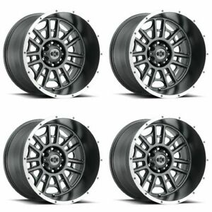 Set 4 20 Vision 418 Widow Grey Machined Lip Rims 20x10 8x170 25mm Lifted Ford