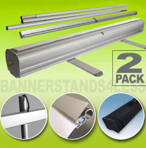 Retractable Roll Up Banner Stand 33 X 79 Free Shipping 2 Pack
