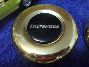 Set 4 Gold Tru Spoke True Spoke 3 1 2 Wire Spoke Wheel Center Caps 44 0150