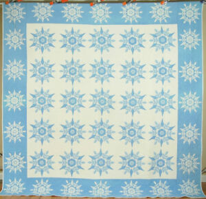 Large Well Quilted Vintage 40 S Blue White Snowflake Applique Antique Quilt