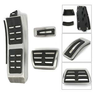 Sport Foot Rest Fuel Brake Pedal Plate Cover Kit For Audi A4 S4 A5 A6 Q5 S5 A7
