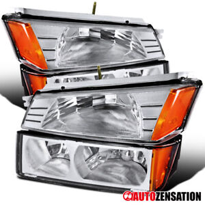 For 2002 2006 Chevy Avalanche 1500 2500 Clear Headlights Bumper Signal Lamp Pair