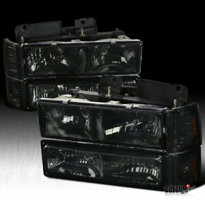1994 1998 Gmc C10 Sierra Suburban Smoke Headlights Bumper Corner Signal Lights