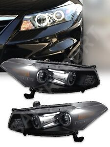 Set Of Pair Black Halo Projector Headlights For 2008 2012 Honda Accord 2dr Coupe