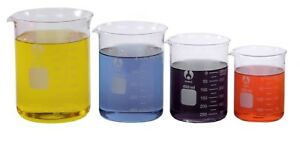 4 Glass Beaker Set 250 400 600 1000ml Larger Sizes