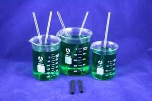 Glass Beakers W Stir Rods 250 400 600 Ml Set Of 5