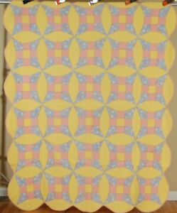 30 S Vintage Improved 9 Patch Antique Patchwork Quilt Sunny Yellow Background