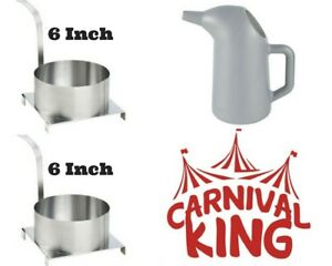 Funnel Cakes 2 Qt Batter Pouring Pitcher And 2 Stainless Steel 6 Molding Rings