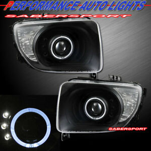 Set Of Pair Black Projector Headlights W Halo Rims For 2003 2006 Honda Element