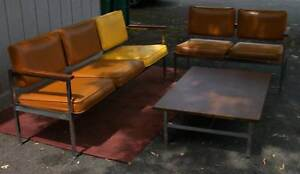 Unique Mid Century Modern Waiting Room Set 2 Sectional Couches And 1 Table