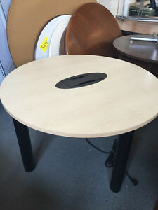 Round Conference Table 48 d W electrical Grommet In Maple Color Laminate