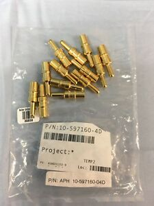 13 New Amphenol 10 597160 04d Mil Spec Contact Pin Male Gold 4 awg