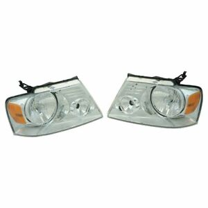 Headlight Headlamp Lh Rh Chrome Pair Set For 04 08 Ford F150 Pickup Truck New