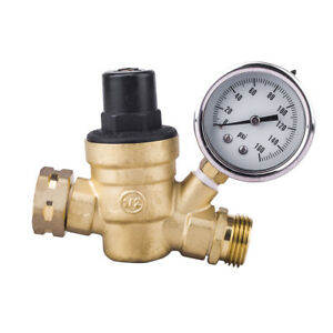 Rv Water Pressure Regulator Brass Adjustable Pressure Reducer Valve W Gauge 3 4