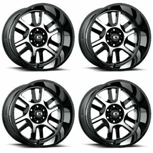 Set 4 17 Vision 419 Split Black Machined Wheels 17x9 6x135 12mm Ford F150 6 Lug