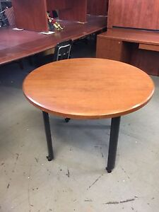 42 Round Mobile Conference Table In Cherry Finish Wood By Haworth
