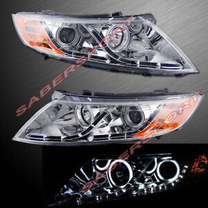 Pair Halo Projector Headlights W Led Parking For 2011 2013 Kia Optima Ex Lx