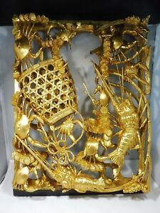 Unusual Fine Chinese Chaozhou Gold Gilt Wood Carved Panel W Crab And Lobsters