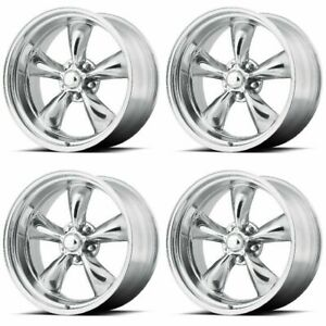 Set 4 17 Torq Thrust Ii Vn515 Polished Classic Wheels 17x9 5 5x5 8mm Jeep 5 Lug
