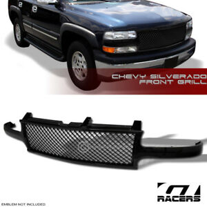 For 1999 2002 Chevy Silverado Black Bentley Mesh Front Bumper Grill Grille Guard
