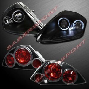 Set Of Black Halo Projector Headlights Taillights For 2000 2002 Eclipse